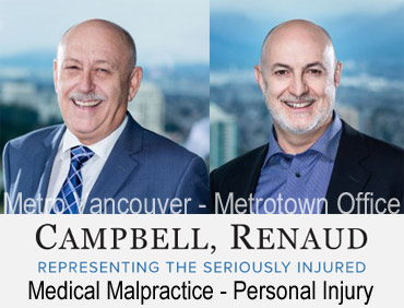 photos of Ian Campbell and  Don Renauld  with view of Metrotown Skytrain station below from their offices in MetroTower in Metrotown mall in Burnaby, experienced in  medical malpractice/negligence e.g. biirth defects  and crebral palsy, also handle serious person injury claims  and ICBC disputes