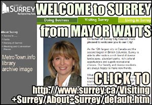 Mayor Diane Watts, photo, welcomes visitors to SURREY BC 12 th largest city in Canada and 2nd largest city in BC5
