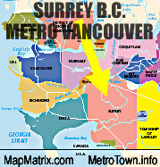 Map of Surrey and its position relative  to municipalities closest to the City of Vancouver