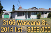 photo of front of 3166  Wascanna St., in Tillicum area of Victoria  , listed at $369.00 in 2014